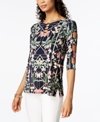Jm Collection Petite Printed Lattice Sleeve Tunic Created For Macy's Deco Garden