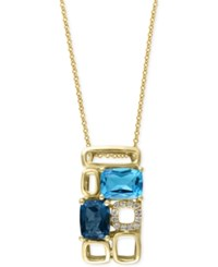 Effy Collection Mosaic By Effy Blue Topaz 3 1 4 Ct. T.W. And Diamond Accent Pendant Necklace In 14K Gold