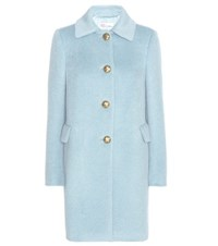 Red Valentino Alpaca And Wool Blend Coat Blue