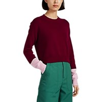 Barneys New York Colorblocked Cashmere Crop Sweater Wine