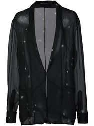 Baja East Shawl Lapel Sheer Blazer Black