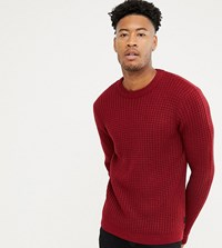 D Struct Tall Chunky Waffle Knit Jumper Red