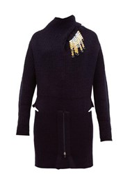 Toga Detachable Brooch Ribbed Wool Blend Sweater Navy