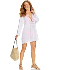 Lablanca La Blanca Crochet Trim Tunic Cover Up Women's Swimsuit White