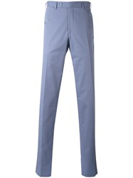 Canali Tailored Trousers Men Cotton Spandex Elastane 50 Blue