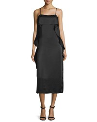 Elizabeth And James Marlee Ruffle Trim Satin Midi Dress Black