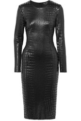 Tom Ford Croc Effect Lacquered Jersey Dress Black