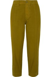 Alex Mill Cropped Cotton Blend Twill Tapered Pants Green