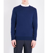 Richard James Ribbed Knitted Wool Jumper Navy
