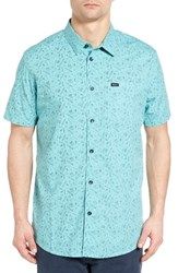 Rvca Men's Sea And Destroy Print Woven Shirt Nile Blue