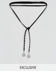 Reclaimed Vintage Inspired Wrap Choker In Suede With Charms Black