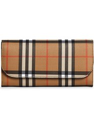 Burberry Vintage Check And Leather Continental Wallet Nude And Neutrals
