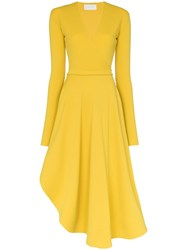 Esteban Cortazar V Neck Wrap Front Dress Yellow
