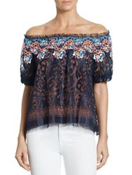 Peter Pilotto Off The Shoulder Embroidered Lace Blouse Navy
