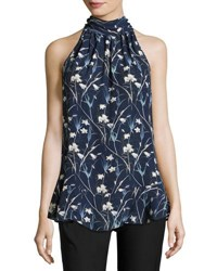 Max Studio Floral Print Sleeveless Blouse Deep Blue