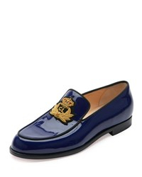 Christian Louboutin Laperouza Patent Crest Loafer Encre Gold Encre Gold