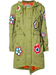 Moschino Flower Patch Fishtail Jacket Green