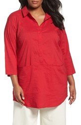 Eileen Fisher Plus Size Women's Organic Linen Blend Tunic Red