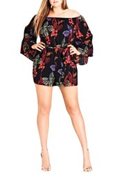 City Chic Plus Size Women's Jungle Fun Bell Sleeve Romper
