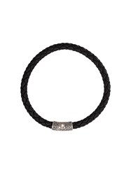 John Hardy Silver Classic Chain Round Woven Leather Bracelet Black