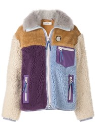 Coach Faux Fur Jacket Purple