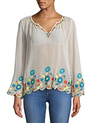 Plenty By Tracy Reese Border Embroidered Peasant Top Optic White