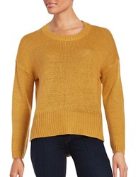 Design Lab Lord And Taylor Elbow Patch Accented Crew Neck Sweater Mustard