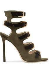 Jimmy Choo Trick Suede And Leather Sandals Army Green