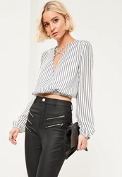 Missguided White Striped Crop Blouse