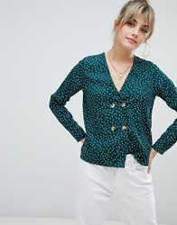 Boohoo Button Front Polka Dot Blouse In Green Multi