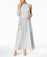 J Kara Beaded Gown With Shawl Silver White
