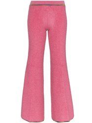 Missoni Low Waisted Wool Blend Flare Trousers Pink