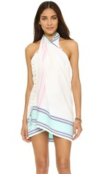 Soleil Woven Beach Blanket Pareo Skirt White Turquoise Pink
