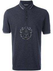 Dolce And Gabbana Embroidered Bee Crown Polo Shirt Grey