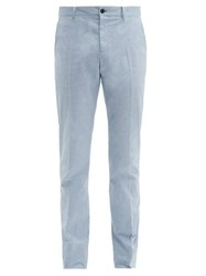 Connolly Slim Leg Stretch Cotton Chambray Trousers Blue