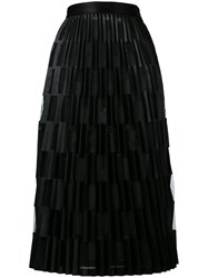 Off White Sheer Pleated Skirt Black