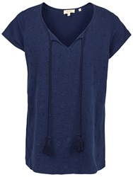 Fat Face Oti Broderie T Shirt Navy