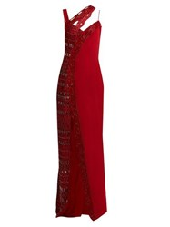 Versace Asymmetric Crystal Embellished Silk Gown Red