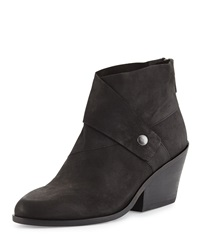 Tag Wrap Snap Leather Bootie Black Eileen Fisher