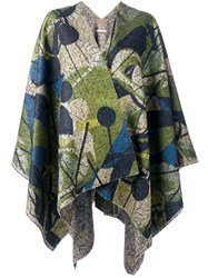 Ermanno Gallamini Geometric Print Woven Cape Green