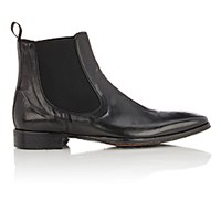 Barneys New York Men's Washed Leather Chelsea Boots Black Blue Black Blue