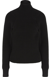 Victoria Beckham Ribbed Cotton Blend Turtleneck Sweater