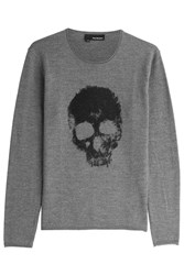 The Kooples Printed Merino Wool Pullover Grey
