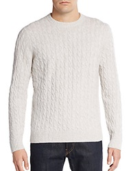 Saks Fifth Avenue Cashmere Cable Knit Sweater Pearl Grey