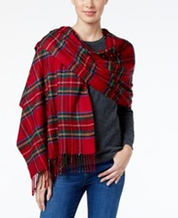 Charter Club Tartan Plaid Cashmink Blanket Scarf Only At Macy's Tomato