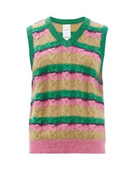 Ashish Striped Sequinned Cable Knit Tank Top Pink Multi