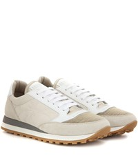 Brunello Cucinelli Paper Effect Embellished Sneakers Beige