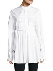 Calvin Klein Kaimee Belted Pleated Cotton Shirt White