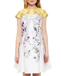 Ted Baker Reliat Passion Flower Skater Dress Yellow
