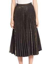 Romance Was Born Cotton Blend Pleated Skirt Gold Black